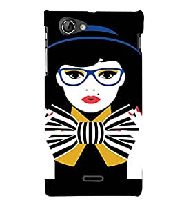 PrintVisa Tom Boy Nerdy Girl Art 3D Hard Polycarbonate Designer Back Case Cover for Sony Xperia J ST26i