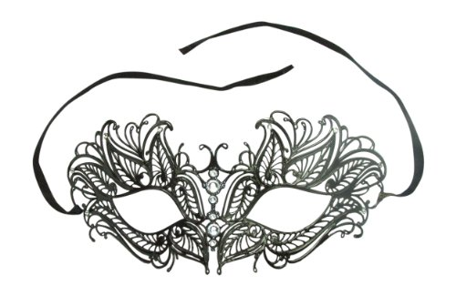 Black Butterfly Metal Masquerade Ball Mask Venetian Victorian with Rhinestones