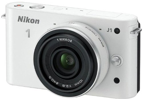Nikon 1 J1 Compact System Camera with 10mm Lens Kit - White (10.1MP) 3 inch LCD