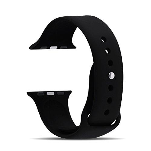 Apple Watch Cinturino,Fullmosa® Cinturino di Ricambio in Silicone con chiusura pin-and-tuck per Apple Watch, 38mm Nero