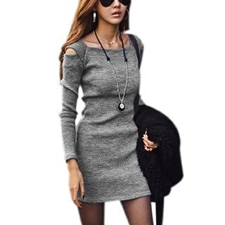 Allegra K Ladies Square Neckline Cut Out Shoulders Stretchy Mini Dress
