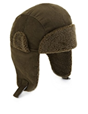 Pure Cotton Faux Fur Corduroy Trapper Hat