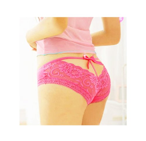 Sexy Lace Briefs Panties Underwear - Hot Pink
