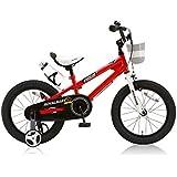 ROYALBABY(ロイヤルベイビー) 16インチ BMXスタイル 子供用自転車 フルカバーチェーンケース リアバンドブレーキ 取っ手付きサドル RB-Freestyle 16 レッド