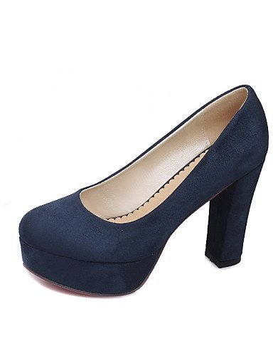 LvYuan-ggx Scarpe Donna-Scarpe col tacco-Ufficio e lavoro / Casual-Tacchi / Plateau / Comoda / Chiusa-Quadrato-Felpato-Nero / Blu / Borgogna , black-us6.5-7 / eu37 / uk4.5-5 / cn37 , black-us6.5-7 / eu37 / uk4.5-5 / cn37