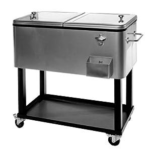 oakland living 80 qt patio cooler cart ice