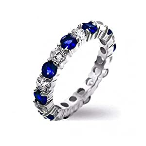 Bling Jewelry Sterling Silver Simulated Sapphire CZ Stackable Eternity Band Ring