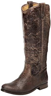 FRYE Women's Melissa Button,Chocolate Glazed Vintage Leather,6 M US