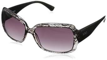 XOXO Women's Intrigue Iridium Square Sunglasses,Black & Clear,14 mm