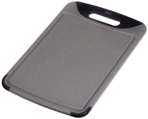 Silit 20761101 Schneidebrett mit Saftrille und 1 Griff, hochwertiger Kunststoff, 38 x 25 cm, grau