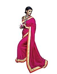 Indiweaves Women Art Silk Embroidered Pink Saree