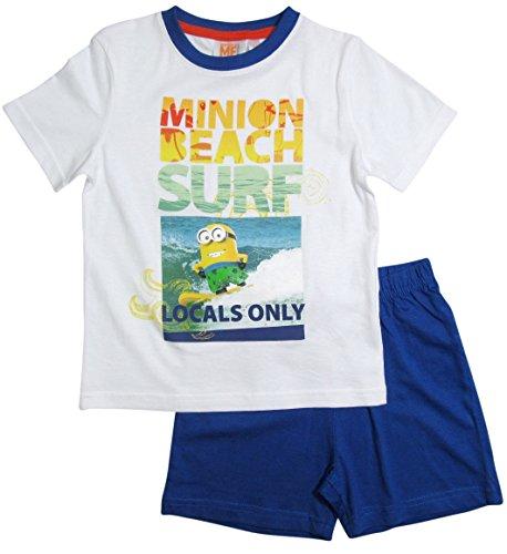 Minions Pyjama Kollektion 2016 Shortie 92 98 104 110 116 122 128 Shorty Kurz Schlafanzug Weiß-Blau (98 - 104, Weiß-Blau)