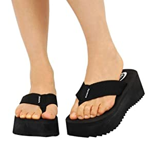 Soda Women's Foam Platform Thong Flip Flop Beach Sandals Black Size 8