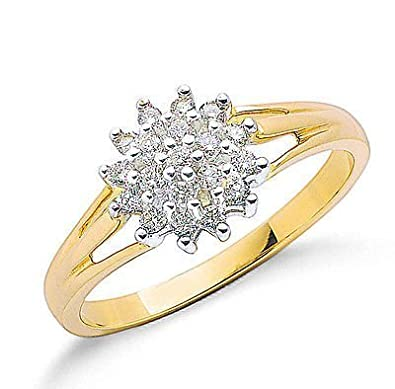 J R Jewellery 415742 9ct Yellow Gold Real Diamond Rounds Cluster Ring 0.25CTW