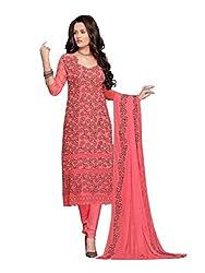 Isha Enterprise Women's Chiffon Dress Material(KFD210-1600_Peach)