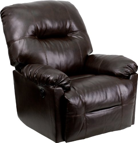 Contemporary Bentley Brown Leather Chaise Power Recliner with Push Button (Recliner Cycle compare prices)