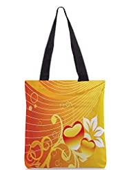 Snoogg Abstract Romantic Wallpaper Of Floral Themes In Orange Designer Poly Canvas Tote Bag