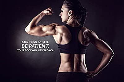 "Sexy Women Fitness Bodybuilding Motivational Fabric Cloth Rolled Wall Poster Print -- Size: (36"" x 24"" / 20"" x 13"")"