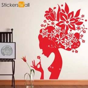 large flower girl wall sticker silver amazon co uk