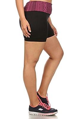 Simplicity® Women Plus Size Bike Exercise Foldover Waist Activewear Yoga Shorts