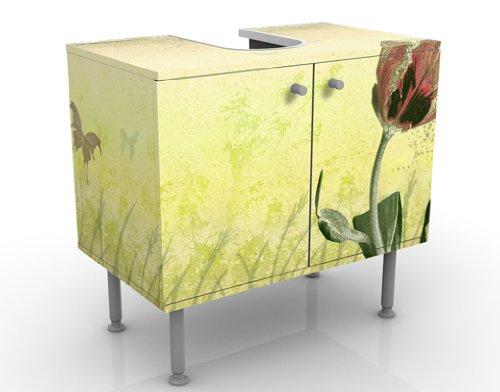 WTD mantiburi Design Waschtisch No.CG133 Tulips Spring  Waschbeckenunterschrank nicht spiegel-/seitenverkehrt / Vollflächiger Premium Print / 60x55x35cm
