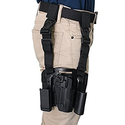 AGPtek Quick Release Tactical Right Hand Paddle & Leg Belt Drop Leg Holster with Magazine and Flashlight Pouch for Colt 1911