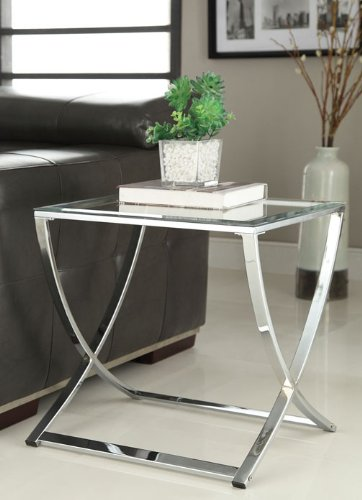 Chrome Finish Glass Chair Side End Table (Chrome End Table compare prices)