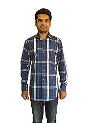 Maclavaro Men's Casual Checkered Shirt_9blubigchcks_Blue_L