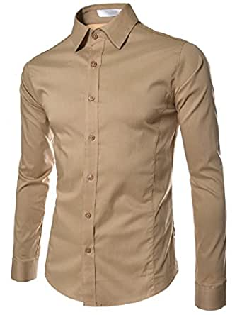 TheLees (STL) TheLees Mens casual slim fit basic dress shirts BEIGE US XS(Tag size S)