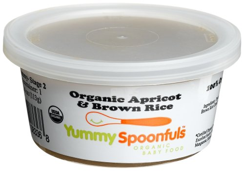 Yummy Spoonfuls Mushy Yummy Organic Apricot & Brown Rice Cereal, 4-Ounce Tubs (Pack Of 12)