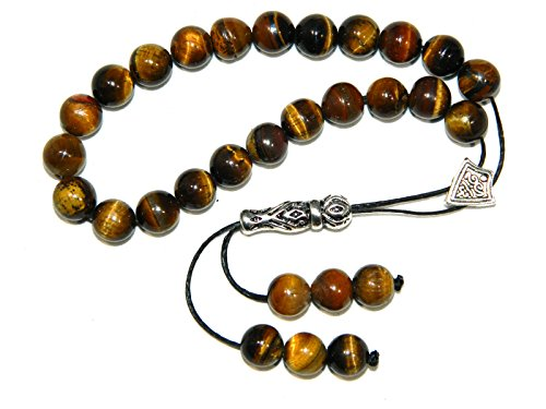 A0249 - Greek Style Loose Strung Worry Beads 8mm Tiger Eye Gemstone Beads Handmade by Jeannieparnell