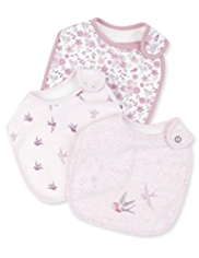 3 Pack Cotton Rich Bird Print Bibs