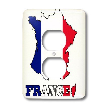 Lsp_63153_6 777Images Flags And Maps - The Flag Of France In The Outline Map Of The Country And Name, France - Light Switch Covers - 2 Plug Outlet Cover