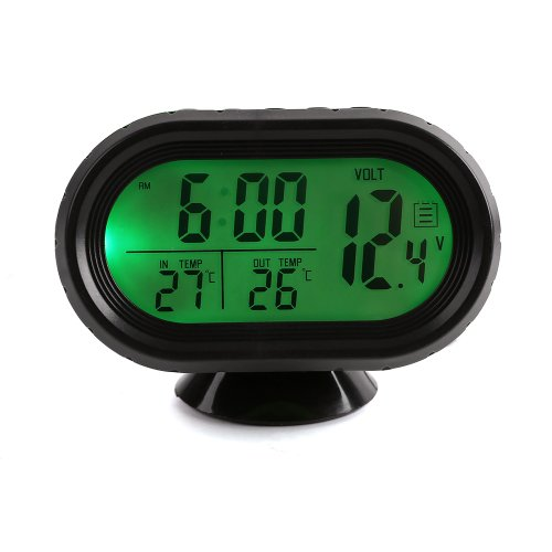 New High Quality multi-function Digital 12v Car Voltage Alarm Temperature Thermometer Clock LCD Monitor Battery Meter Detector Display Green Led