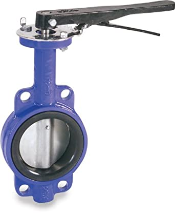 Smith-Cooper International 160 Series Iron Butterfly Valve, Wafer Style, Nickel Plated Ductile Iron Disc, EPDM Seat, Lever Handle