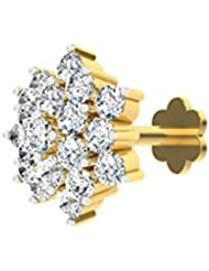 TBZ - The Original 18k (750) Yellow Gold And Diamond Screw Nosepin