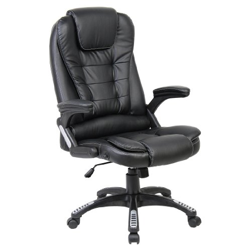 RIO BLACK LUXURY RECLINING EXECUTIVE HIGH BACK OFFICE DESK CHAIR FAUX LEATHER SWIVEL