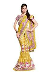 Fabdeal Embroidered Net Yellow Un-Stitched Lehenga Choli( ORQLC10006PTG_Yellow )