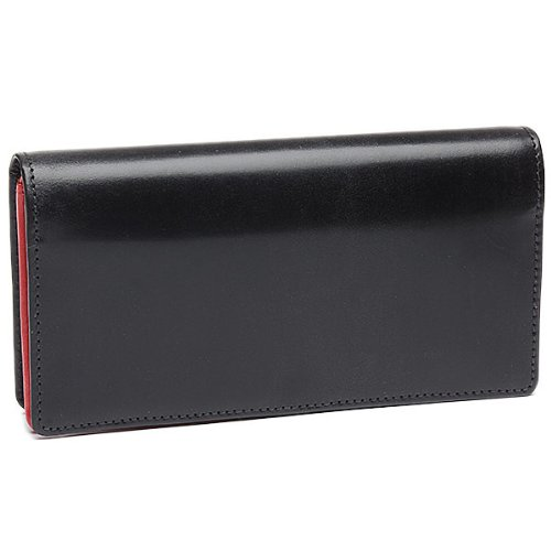 ホワイトハウスコックス 財布 WHITEHOUSE COX S8819 FOLD PURSE WITH CURVED CLOSURE AND ZIP ブライドルレザー 長財布 BLACK/RED[並行輸入品]