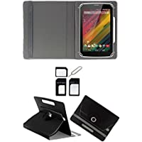 "Hello Zone Exclusive 360° Rotating 7"" Inch Flip Case Cover Book Cover For IBall Slide Q45i 3G -Black + Free Sim..."