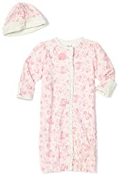 Little Me Baby-Girls Newborn Crochet Floral Gown and Hat, Pink Floral, 0-3 Months