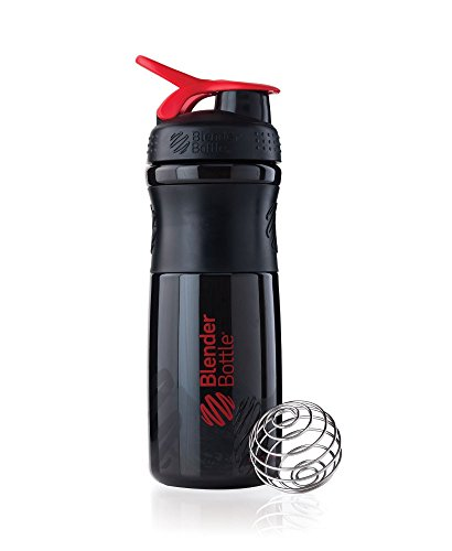 BlenderBottle SportMixer Tritan Grip Shaker Bottle, Black/Red, 28-Ounce (Blender Mixer Red compare prices)