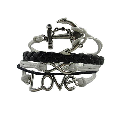 Silver Infinity Anchor Love Charms Leather Rope Knit Wrap Bracelet White Black image