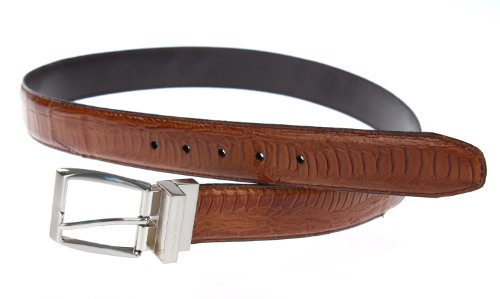 Stacy Adams 6-188 Croco and Ostrich Leg Embossed Leather Mens Belt, Nickel Brushed Buckle (38, Cognac)