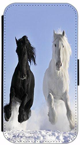 Flip Cover für Apple iPhone 6 / 6S (4,7 Zoll) Design 509 Pferd Pferde Schwarz Weiß im Schnee Hülle aus Kunst-Leder Handytasche Etui Schutzhülle Case Wallet Buchflip mit Bild (509)