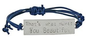 """That's What Makes You Beautiful"" One Direction Lyrics Silver-Plated ID Bracelet with Blue Cord, 1D Bracelet, 1D Wristband, 1D Wrist Band by Hinky Imports"