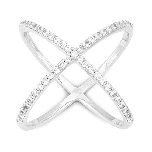 Sterling-Silver-Pave-CZ-X-Criss-Cross-Long-Ring