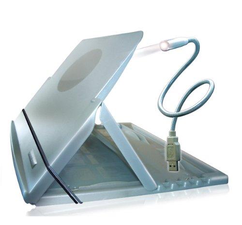 Atril multifuncional con luz usb para computer, tablet y libro - color aluminium