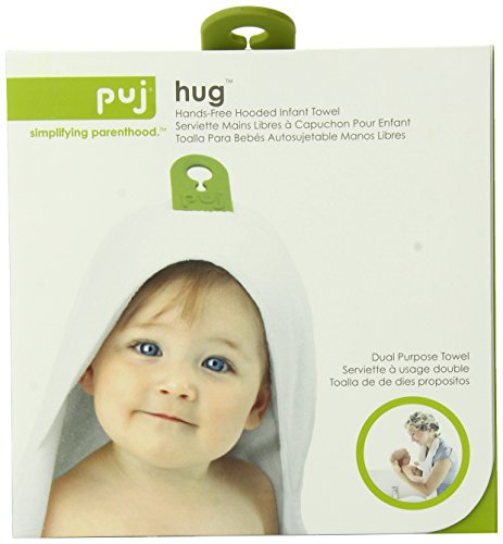 Puj Hug Hands Free Hooded Infant Towel, White