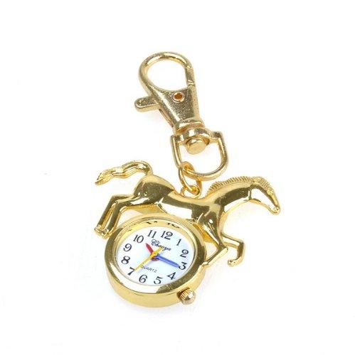 Bestdealusa Gold Horse Key Ring Pendant Watch Pocket Quartz Movement Watch